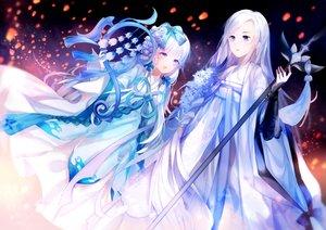 Rating: Safe Score: 32 Tags: 2girls aqua_eyes blue_eyes chinese_clothes dress flowers long_hair staff white_hair yu_jiu User: BattlequeenYume