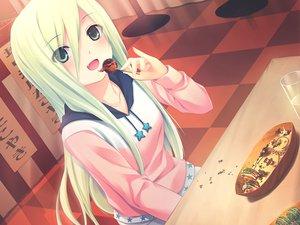 Rating: Safe Score: 91 Tags: coffee-kizoku cure_girl drink fang food game_cg green_eyes green_hair hoodie kagamihara_itsuha long_hair User: Maboroshi