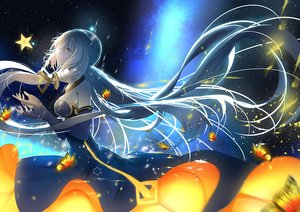 Rating: Safe Score: 79 Tags: aliasing butterfly dress gray_hair long_hair night re:rin stars vocaloid vocaloid_china xingchen yellow_eyes User: luckyluna