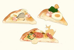 Rating: Safe Score: 34 Tags: animal bird cat chai_(artist) food nobody original pizza signed User: otaku_emmy