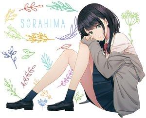 Rating: Safe Score: 74 Tags: black_hair green_eyes hoodie hyuuga_azuri original school_uniform short_hair skirt socks white User: otaku_emmy
