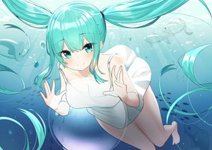 Rating: Safe Score: 61 Tags: animal bubbles dress fish green_eyes green_hair hatsune_miku long_hair summer_dress twintails underwater vocaloid water w.k User: BattlequeenYume
