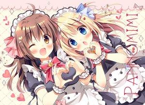Rating: Safe Score: 106 Tags: 2girls apron aqua_eyes blonde_hair blush bow brown_eyes brown_hair headdress heart kokoa-chan_(pan) long_hair maid original pan_(mimi) ribbons ten-chan_(pan) waifu2x watermark wink User: otaku_emmy