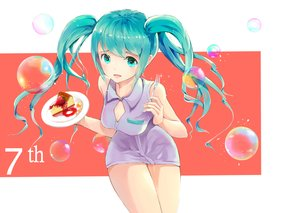 Rating: Safe Score: 75 Tags: aqua_eyes aqua_hair blush breasts bubbles cake cleavage hatsune_miku mebin twintails vocaloid User: FormX