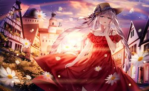 Rating: Safe Score: 90 Tags: blue_eyes building butterfly dress fate/grand_order fate_(series) flowers gray_eyes hat junpaku_karen long_hair marie_antoinette_(fate/grand_order) sunset twintails User: Nepcoheart