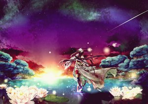 Rating: Safe Score: 119 Tags: brown_hair flowers forest keishi long_hair original scenic sky space stars third-party_edit tree User: Eagleshadow