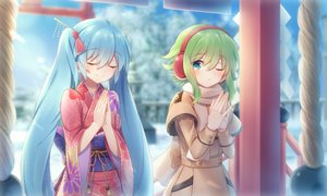 Rating: Safe Score: 37 Tags: 2girls aqua_hair green_hair gumi hatsune_miku japanese_clothes kimono long_hair sakakidani short_hair shrine vocaloid User: sadodere-chan
