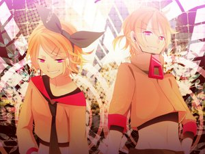 Rating: Safe Score: 21 Tags: achiki kagamine_len kagamine_rin pink_eyes vocaloid User: MissBMoon