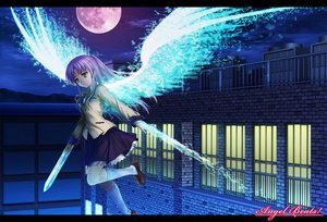 Rating: Safe Score: 86 Tags: angel_beats! kneehighs long_hair moon moonknives night skirt sky tachibana_kanade white_hair wings yellow_eyes User: Tensa
