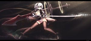 Rating: Safe Score: 201 Tags: blindfold breasts cameltoe cleavage dk_senie dress gloves gray_hair katana nier nier:_automata panties short_hair sword tears thighhighs underwear weapon white_hair yorha_unit_no._2_type_b User: Dust