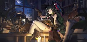 Rating: Safe Score: 100 Tags: animal bird book cat choker cropped cross gloves green_hair hat long_hair moon night original red_eyes sky thighhighs tracyton wand watermark weapon witch witch_hat User: BattlequeenYume