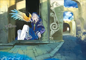 Rating: Safe Score: 17 Tags: all_male animal bird building clouds male rain water white_hair User: Maboroshi