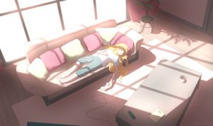 Rating: Safe Score: 42 Tags: barefoot blonde_hair book couch drink gabriel_dropout gabriel_white_tenma game_console konoescaper long_hair signed sleeping User: BattlequeenYume