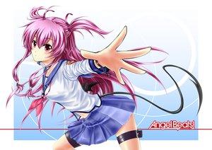 Rating: Safe Score: 64 Tags: angel_beats! blush long_hair pink_eyes pink_hair skirt tail twintails yui_(angel_beats!) User: Tensa