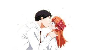 Rating: Safe Score: 147 Tags: blush gekkan_shoujo_nozaki-kun kiss male nozaki_umetarou petals sakura_chiyo tagme_(artist) white User: gnarf1975