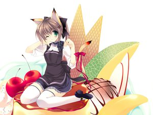 Rating: Safe Score: 35 Tags: animal_ears blush catgirl dress food ice_cream rei tail thighhighs User: Xtea