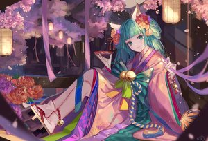 Rating: Safe Score: 42 Tags: animal_ears bell cherry_blossoms drink flowers foxgirl green_eyes green_hair hatsune_miku japanese_clothes kimono long_hair petals qie_(25832912) ribbons rope sake signed socks vocaloid User: BattlequeenYume