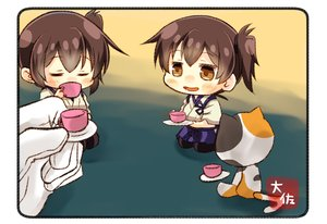 Rating: Safe Score: 15 Tags: admiral_(kancolle) animal anthropomorphism blush brown_eyes brown_hair cat chibi drink gloves japanese_clothes kaga_(kancolle) kantai_collection short_hair taisa_(kari) User: RyuZU