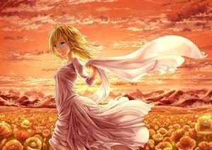 Rating: Safe Score: 58 Tags: blonde_hair blue_eyes christa_renz clouds dress flowers mamechiyo555 shingeki_no_kyojin short_hair sky sunset User: Flandre93