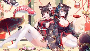 Rating: Safe Score: 108 Tags: 2girls animal animal_ears anthropomorphism aqua_eyes asanogawa_(tutufcc) azur_lane bell black_hair breasts brown_hair butterfly candy catgirl cleavage dog drink food fusou_(azur_lane) japanese_clothes kimono long_hair red_eyes ribbons sake short_hair sideboob tail thighhighs umbrella yamashiro_(azur_lane) zettai_ryouiki User: BattlequeenYume