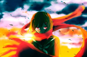 Rating: Safe Score: 50 Tags: kagerou_project kokeshi_ya red_eyes scarf sunset tateyama_ayano User: FormX