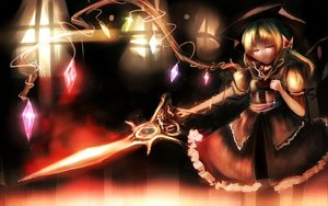 Rating: Safe Score: 52 Tags: blonde_hair bow flandre_scarlet hat mifuru necklace red_eyes sword touhou vampire weapon wings User: opai