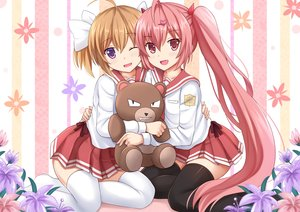 Rating: Safe Score: 133 Tags: 2girls blonde_hair bow fang flowers hidan_no_aria horns kanzaki_h_aria kazenokaze loli long_hair mamiya_akari pink_eyes pink_hair purple_eyes seifuku short_hair teddy_bear thighhighs twintails wink zettai_ryouiki User: luckyluna