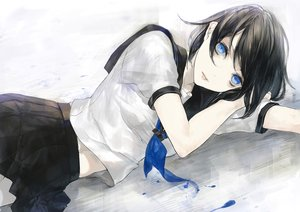 Rating: Safe Score: 107 Tags: black_hair blue_eyes gray kunimura_hakushi original polychromatic school_uniform skirt waifu2x User: FormX