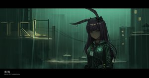 Rating: Safe Score: 22 Tags: animal_ears arknights bunny_ears choker close dark green green_eyes long_hair purple_hair rain water yurichtofen User: FormX