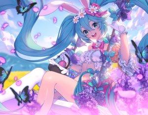 Rating: Safe Score: 87 Tags: animal_ears blue_eyes blue_hair bunny_ears butterfly flowers gloves hatsune_miku lim_jaejin long_hair navel petals twintails vocaloid User: RyuZU