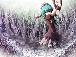Rating: Safe Score: 59 Tags: akashio_(loli_ace) flowers green_hair kagiyama_hina long_hair red_eyes ribbons skirt stockings torn_clothes touhou User: Tensa