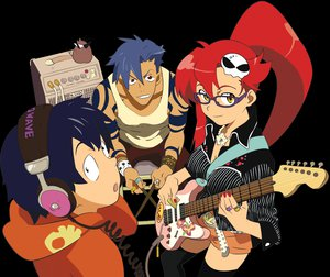 Rating: Safe Score: 16 Tags: boota guitar headphones instrument kamina male simon tagme tagme_(artist) tengen_toppa_gurren_lagann yoko_littner User: Oyashiro-sama