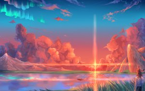 Rating: Safe Score: 195 Tags: animal boat clouds hoshi_wo_ou_kodomo landscape scenic sky sunset water User: BoobMaster