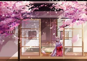Rating: Safe Score: 119 Tags: animal_ears blonde_hair building cherry_blossoms flowers foxgirl japanese_clothes miko original petals red_eyes tree yuruno User: Flandre93