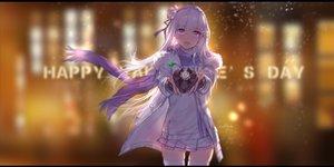 Rating: Safe Score: 34 Tags: emilia_(re:zero) flowers gray_hair headdress long_hair purple_eyes re:zero_kara_hajimeru_isekai_seikatsu ribbons signed skirt swd3e2 thighhighs valentine User: RyuZU