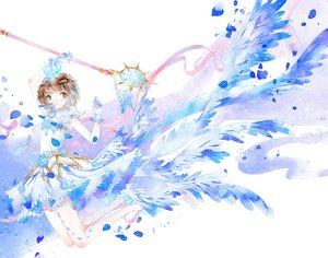 Rating: Safe Score: 31 Tags: brown_hair card_captor_sakura crown gloves green_eyes hei_yu kinomoto_sakura petals ribbons short_hair wand wings User: RyuZU