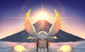 Rating: Safe Score: 27 Tags: anthropomorphism clouds crested_ibis_(kemono_friends) feathers happa_(cloverppd) hat kemono_friends short_hair sky sunset wings witch_hat yellow_eyes User: otaku_emmy