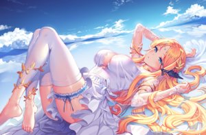 Rating: Safe Score: 90 Tags: aqua_eyes astral_chronicles athena_(astral_chronicles) barefoot blush breasts cleavage clouds dress elbow_gloves garter gloves long_hair orange_hair pointed_ears reflection satchely see_through sky thighhighs water User: RyuZU