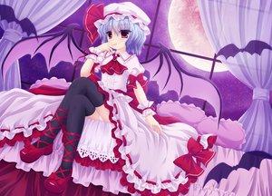 Rating: Safe Score: 66 Tags: animal bat blue_hair dress hat moon red_eyes remilia_scarlet shimotsuki_keisuke thighhighs touhou vampire wings User: HawthorneKitty