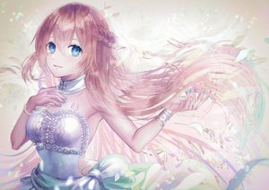 Rating: Safe Score: 45 Tags: blue_eyes haduki_tohru long_hair megurine_luka petals pink_hair vocaloid wristwear User: FormX