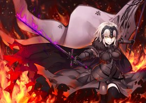 Rating: Safe Score: 235 Tags: armor blonde_hair breasts cape dress fate/grand_order fate_(series) fire gabiran headdress jeanne_d'arc_alter jeanne_d'arc_(fate) magic short_hair sword thighhighs torn_clothes weapon yellow_eyes zettai_ryouiki User: RyuZU