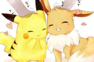 Rating: Safe Score: 46 Tags: close eevee nya_rl pikachu pokemon waifu2x User: otaku_emmy