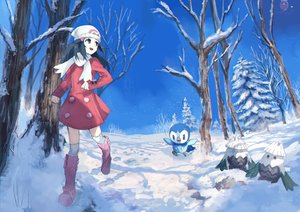 Rating: Safe Score: 78 Tags: animal bird black_eyes black_hair boots dress drifloon hat hikari_(pokemon) kneehighs long_hair piplup pippi_(p3i2) pokemon sky snover snow tree winter User: RyuZU