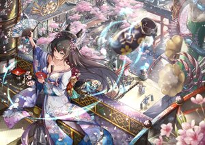 Rating: Safe Score: 71 Tags: brown_hair building cherry_blossoms drink fan flowers japanese_clothes long_hair original sake tree water yueyingjinfeng User: BattlequeenYume