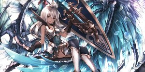 Rating: Safe Score: 152 Tags: armor brown_eyes dark_skin dragon dress gloves granblue_fantasy gray_hair inaba_sunimi long_hair sword thighhighs weapon white_hair wings zooey_(granblue_fantasy) User: BattlequeenYume
