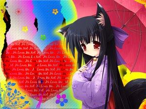 Rating: Safe Score: 31 Tags: animal_ears bell black_hair bow choker foxgirl japanese_clothes kimono rain red_eyes tail umbrella water User: LizzYamanaka