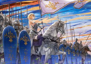 Rating: Safe Score: 68 Tags: animal armor blonde_hair elbow_gloves fate/grand_order fate_(series) gloves group headdress horse jeanne_d'arc_(fate) jun_ling long_hair purple_eyes spear sword thighhighs weapon User: RyuZU
