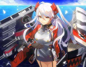 Rating: Safe Score: 50 Tags: anthropomorphism ao_(123painter) azur_lane clouds dress garter_belt gloves long_hair orange_eyes prinz_eugen_(azur_lane) sky twintails uniform water weapon white_hair User: otaku_emmy