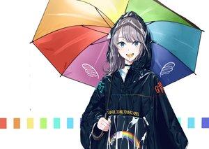 Rating: Safe Score: 83 Tags: blue_eyes candy chobe_2 choker gray_hair hoodie lollipop original rainbow short_hair umbrella white User: Dreista