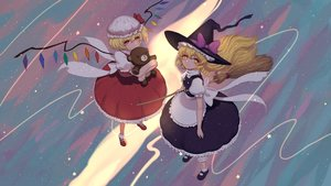 Rating: Safe Score: 6 Tags: apron blonde_hair boots bow braids dress flandre_scarlet hat kirisame_marisa long_hair red_eyes short_hair tagme_(artist) teddy_bear touhou wings witch_hat yellow_eyes User: RyuZU